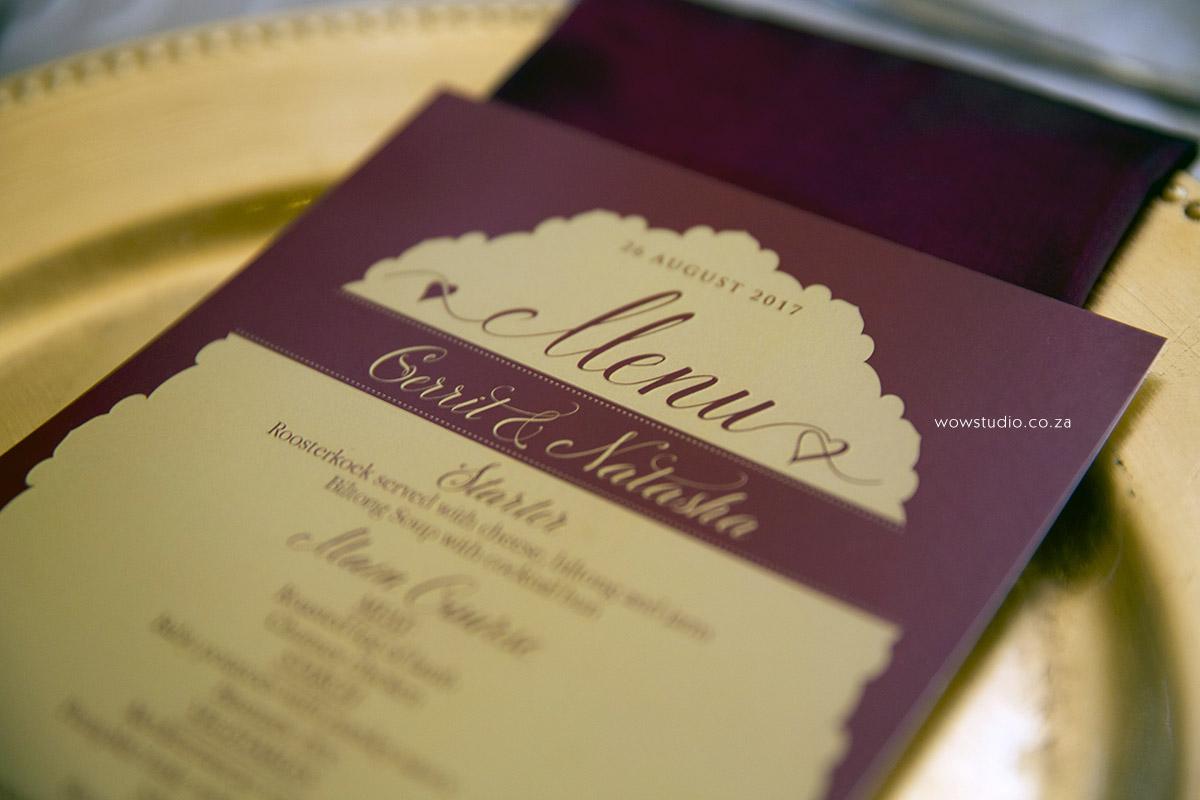 wedding menu designs by wow creative design studio wow creative
